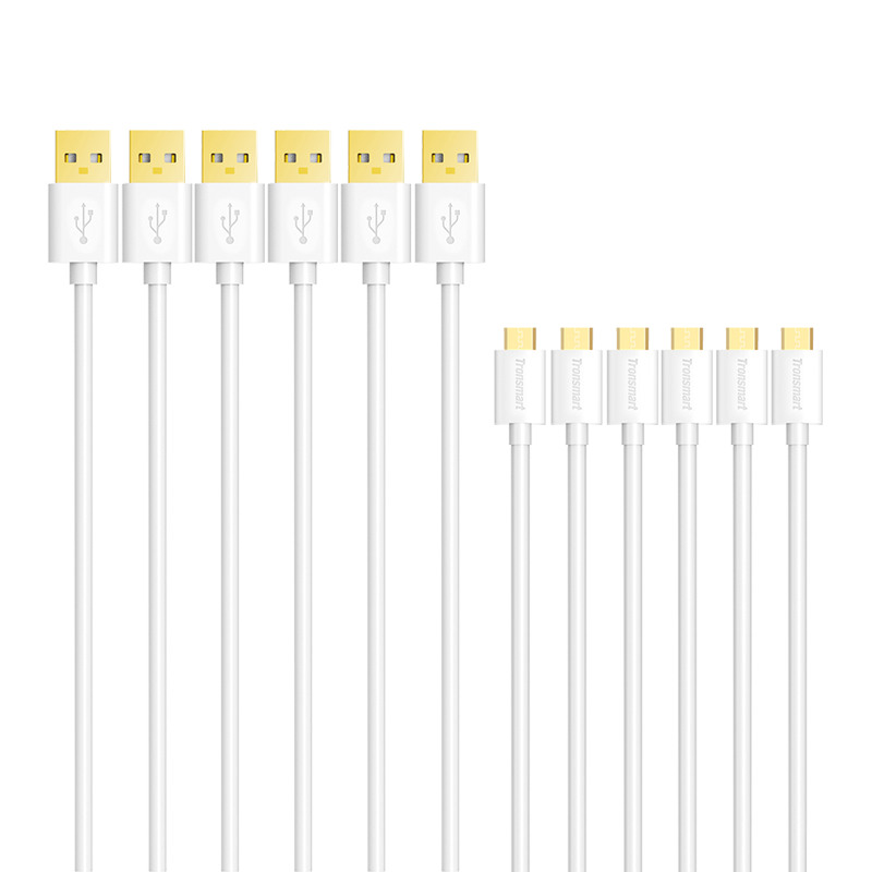 Tronsmart MUPP9 Premium 20AWG USB Cables 6 Pack White(1ft*1+3.3ft*2+6ft*3) with Gold Connector