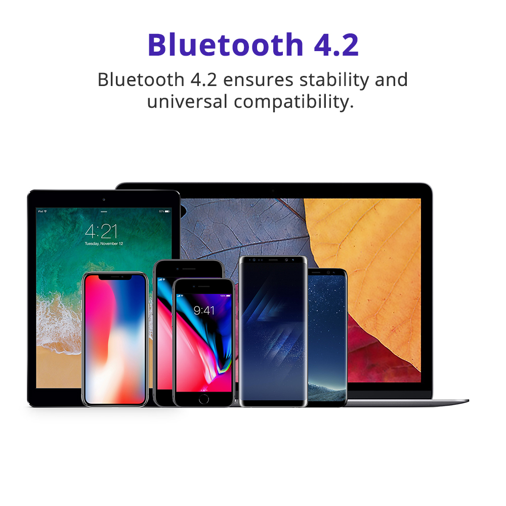 The latest Bluetooth 4.2 technology connects instantly to any Bluetooth device from up to 10m. Whether it's an iPhone, an iPad or a tablet, you will never be too far to indulge yourself to your music. The built in microphone allows answering calls with ease.