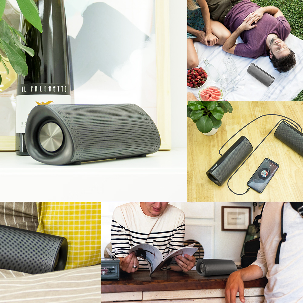 Pixie wireless speaker is very light, the Element Pixie is ready to go when you are. Pop it in your bag after a 3-hour charge to enjoy up to 15 hours of audio immersion.