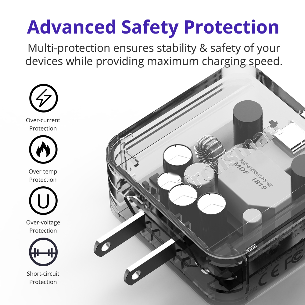 Advanced Safety Protection Multi-protection ensures stability & safety of your devices while providing maximum charging speed.